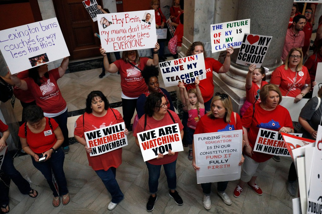 Kentucky Public school teachers protest Governor Matt Bevin's recent veto of the state's tax and budget bills in April in Frankfort, Kentucky. (Bill Pugliano/Getty Images)