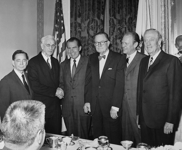 Luncheon speakers at a dining room in the Capitol. Left to Right: Representative Carl Albert and John William McCormack, Richard M. Nixon, Gerald Ford and others. (Photo by Mickey Senko/CQ Roll Call)