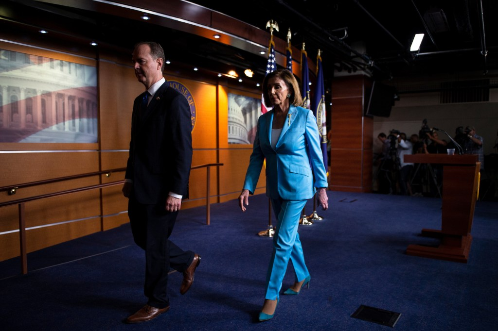 UNITED STATES - OCTOBER 2: House Speaker Nancy Pelosi of Calif. and House Intelligence Committee Chairman Rep. Adam Schiff, D-Calif., depart from a news conference on Capitol Hill on Wednesday, Oct. 2, 2019. (Photo by Caroline Brehman/CQ Roll Call)