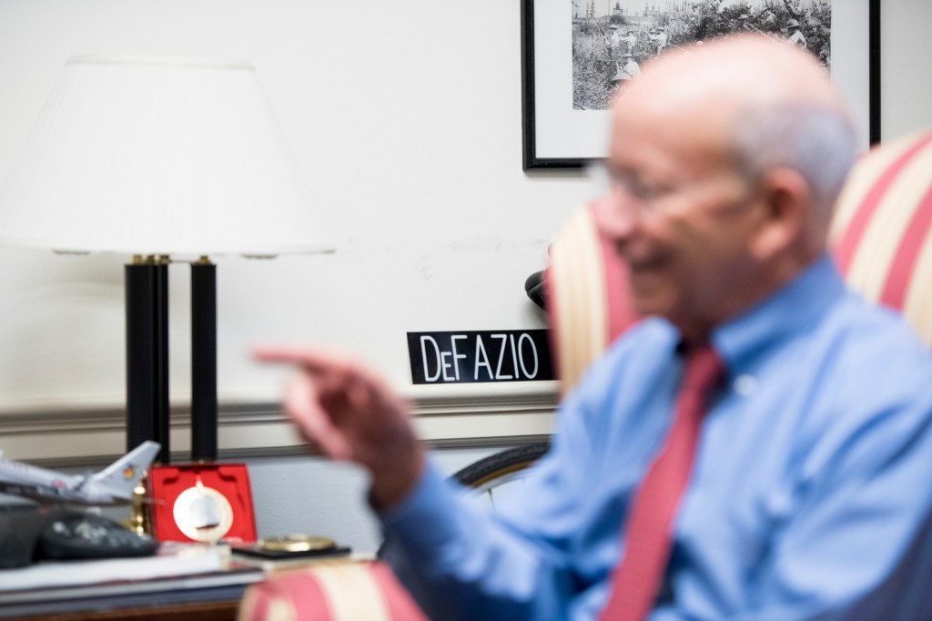 UNITED STATES - OCTOBER 23: House Transportation Committee chairman Rep. Peter DeFazio, D-Ore., speaks to a reporter in his office in the Rayburn House Office Building on Wednesday, Oct. 23, 2019. (Photo By Bill Clark/CQ Roll Call)