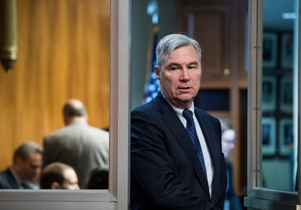 UNITED STATES - MAY 1: Sen. Sheldon Whitehouse, D-R.I., arrives for the Senate Judiciary Committee hearing on the