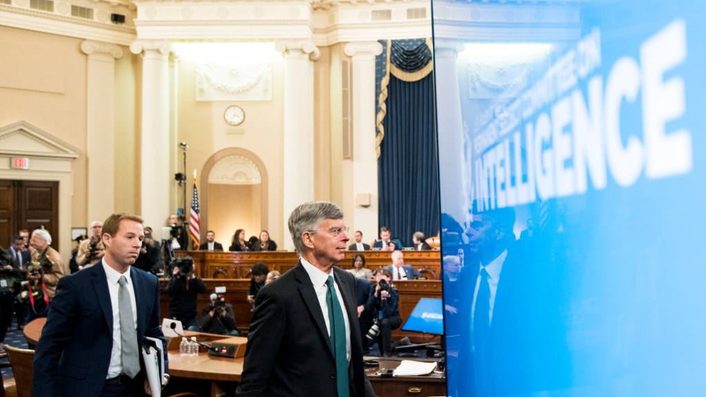 UNITED STATES - NOVEMBER 13: William Taylor, charge d'affaires for the State Department in the Ukraine, leaves the hearing room after testifying during the House Select Intelligence Committee hearing on the impeachment inquiry into President Donald Trump. begins on Wednesday, Nov. 13, 2019. (Photo By Bill Clark/CQ Roll Call)
