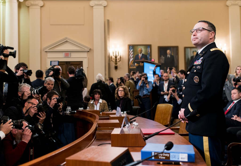 UNITED STATES - NOVEMBER 19: Army Lt. Col. Alexander Vindman, director for European Affairs at the National Security Council, arrives to testify during the House Select Intelligence Committee hearing on the impeachment inquiry into President Donald Trump on Tuesday, Nov. 19, 2019. (Photo By Bill Clark/CQ Roll Call)