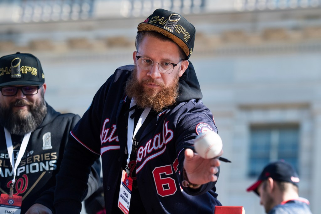 Washington Nationals pitcher Sean Doolittle is seen on 15th St., NW, during a parade to celebrate the World Series champions on Saturday, November 2, 2019. (Photo By Tom Williams/CQ Roll Call)