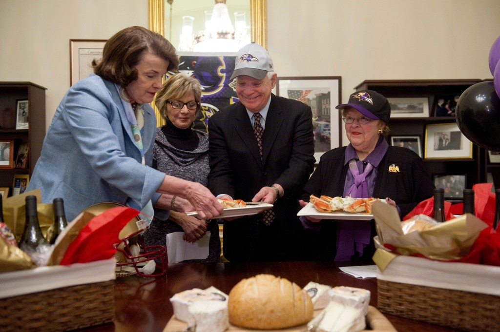 Crab, Napa Valley wine and sourdough bread were on tap as California's senators settled a Super Bowl bet with the Maryland delegation in 2013. (Chris Maddaloni/CQ Roll Call file photo)