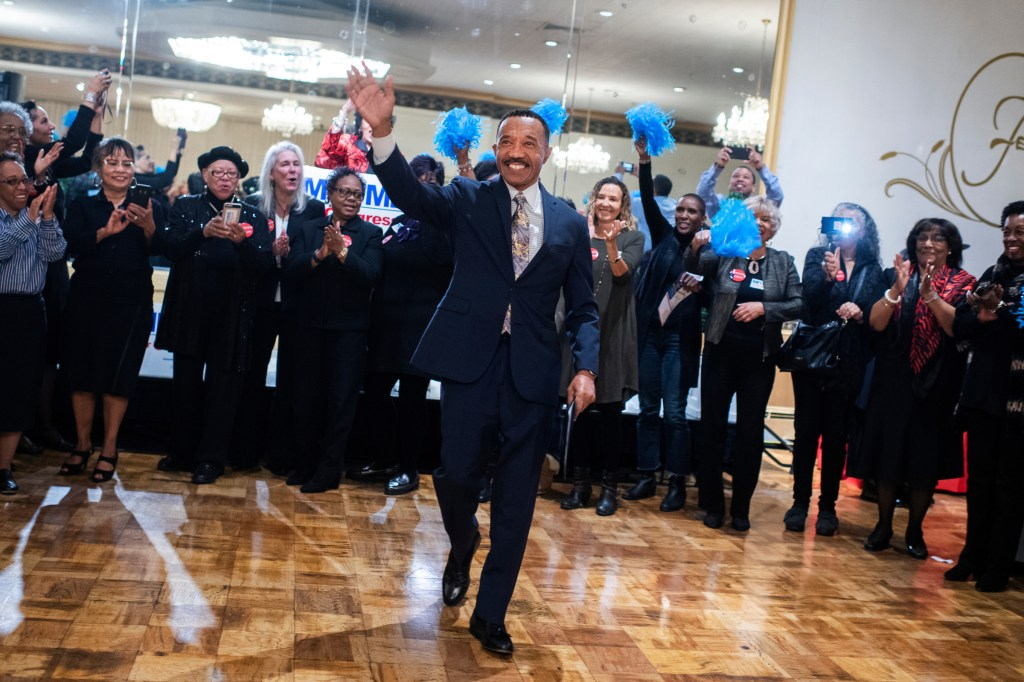 Former Rep. Kweisi Mfume, Democratic candidate for Maryland's 7th Congressional District, arrives to a campaign rally at the Forum in Baltimore, Md., on Sunday. (Tom Williams/CQ Roll Call)