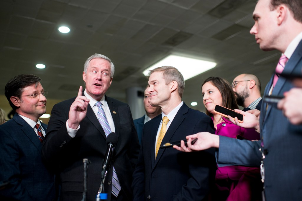 UNITED STATES - JANUARY 23: Rep. Mark Meadows, R-N.C., flanked from left by Reps. Mike Johnson, R-La., Lee Zeldin, R-N.Y., Jim Jordan, R-Ohio, and Elise Stefanik, R-N.Y., speaks to reporters in the Senate subway before the start of Senate impeachment trial session on Thursday, Jan. 23, 2020. (Photo By Bill Clark/CQ Roll Call)