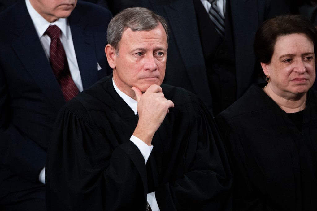 UNITED STATES - FEBRUARY 04: Chief Justice John Roberts and Associate Justice Elena Kagan, are seen during President Donald Trump's State of the Union address in the House Chamber on Tuesday, February 4, 2020. (Photo By Tom Williams/CQ Roll Call)