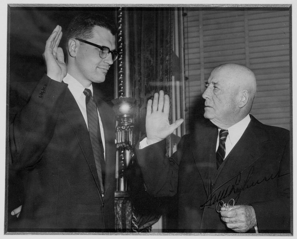 REP. JOHN D. DINGELL--Congressman John D. Dingell being sworn in by Speaker of the House Sam Rayburn in 1955..PHOTO COURTESY OF REP. JOHN D. DINGELL