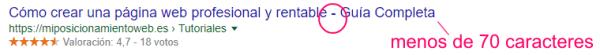 Ejemplo de título SEO en los resultados de Google