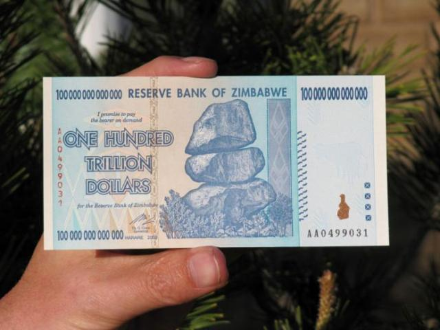 Zimbabwe 100 trillion dollar bill