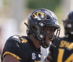 Mizzou wore this helmet in the first two weeks of the season in wins over UT-Martin and Wyoming.