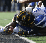 Mizzou featured their standard Tiger logo with the added stripes down the middle in their heartbreaking loss to Kentucky