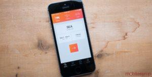Kayak app on an iPhone