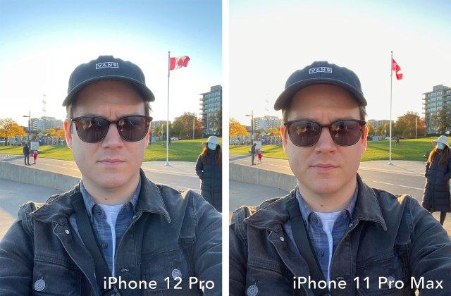 iPhone 12 Pro vs iPhone 11 Pro Max selfie shooter comparison