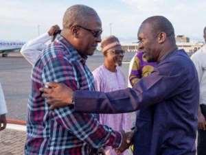 Bagbin and Mahama at the Tamale Airport