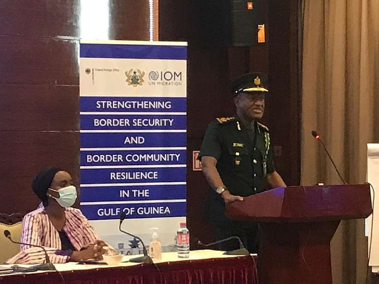 Comptroller-General of the GIS Mr. Kwame Asuah Takyi speaking at the launch