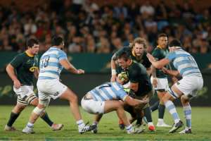 Rynhardt Elstadt made his two Test appearances against Argentina last summer.  By MARCO LONGARI (AFP/File)