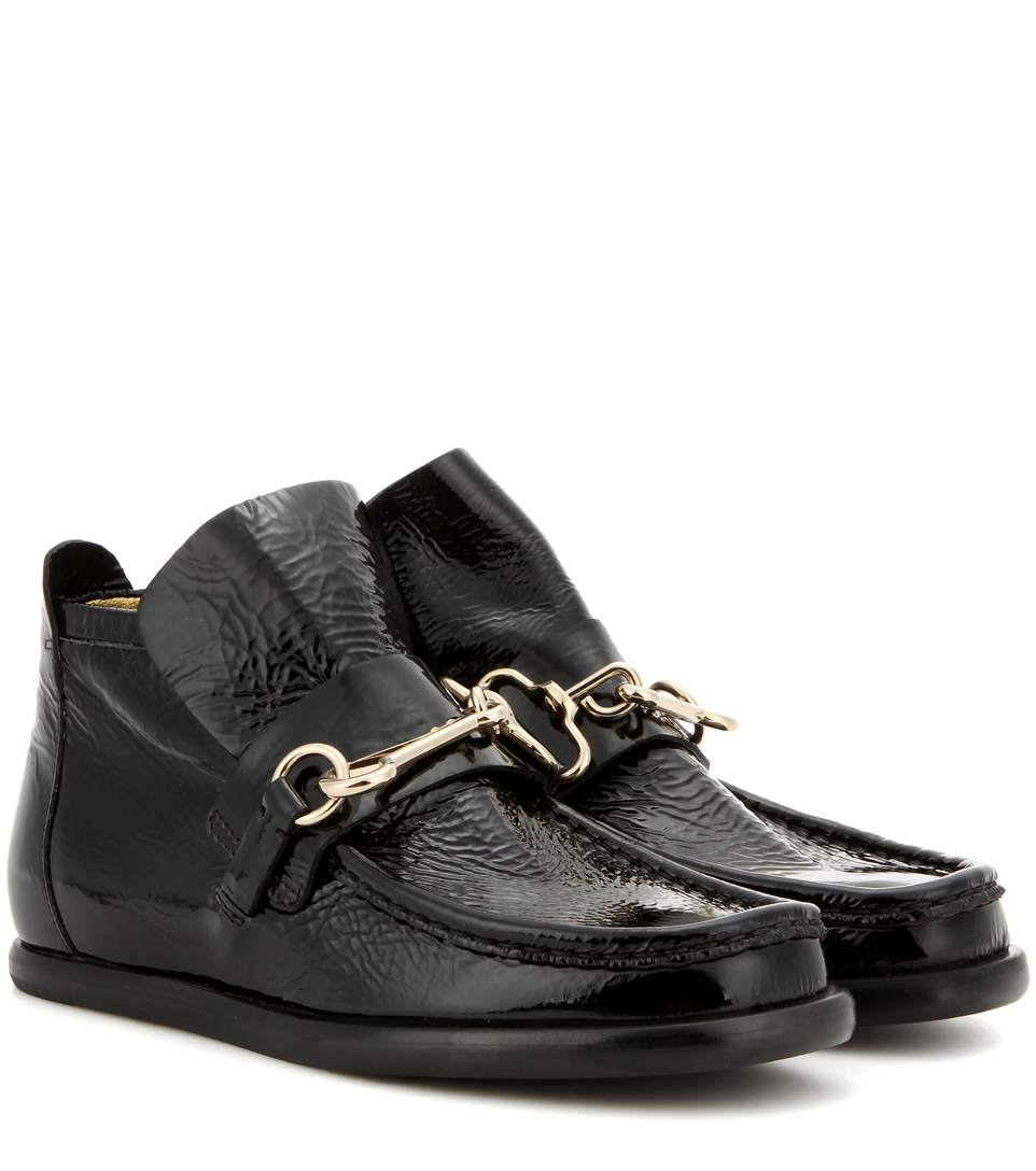 Acne Studios Kerin Embellished Patent Leather Ankle Boots In Llack   ModeSens
