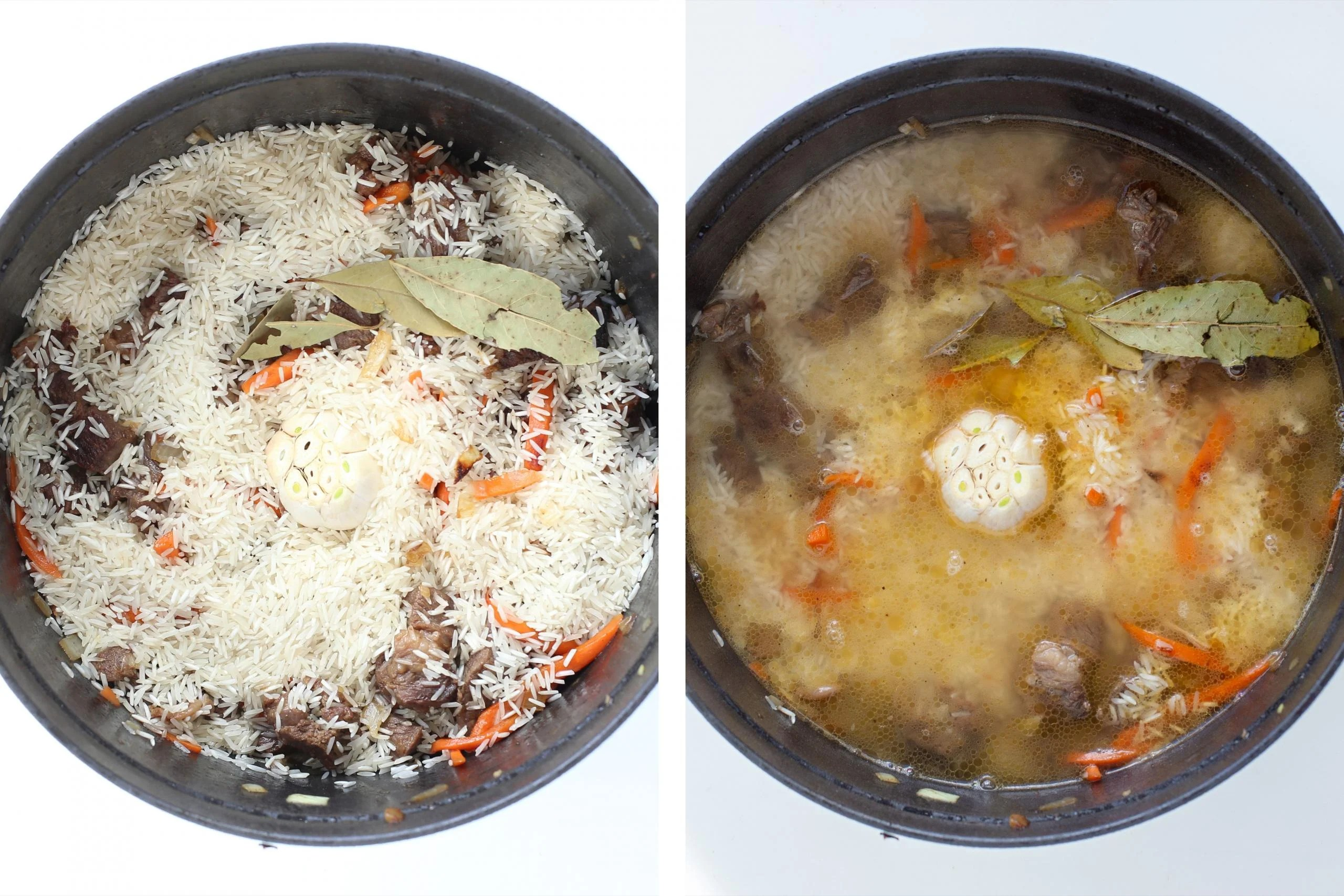 Pot with rice and veggies and liquid
