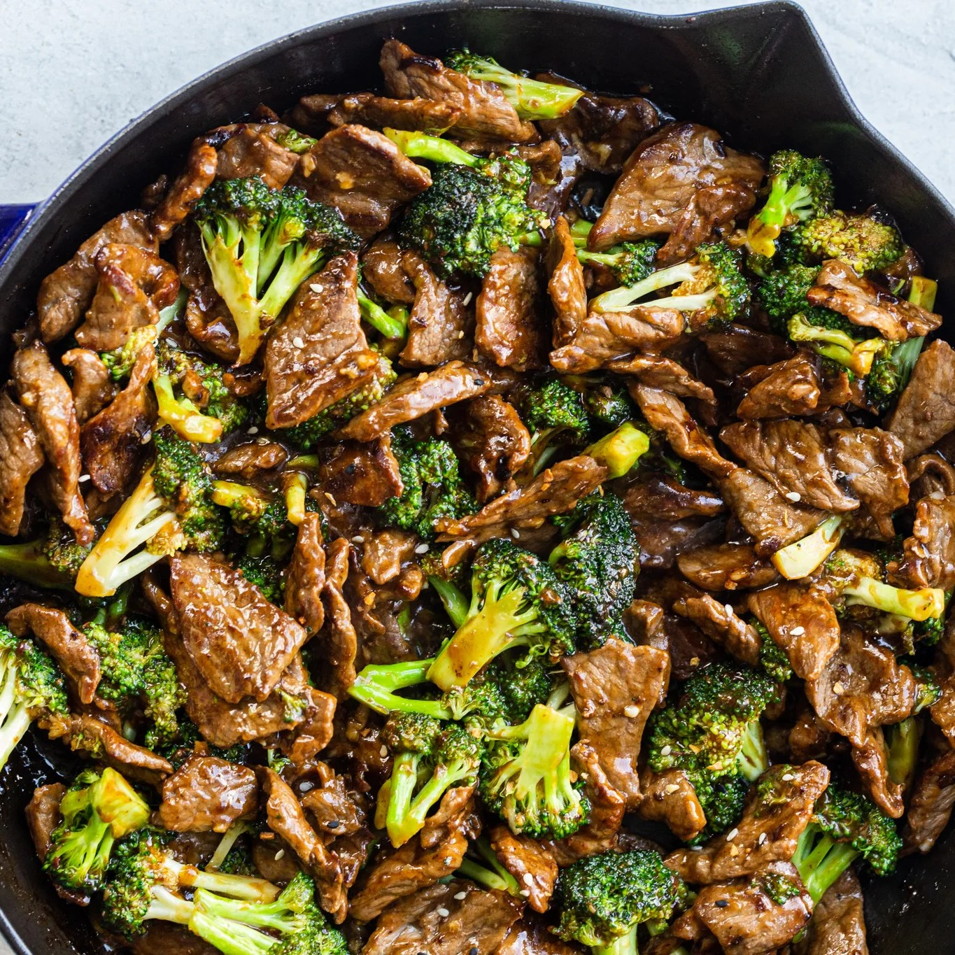 Beef and Broccoli in a cooking pan