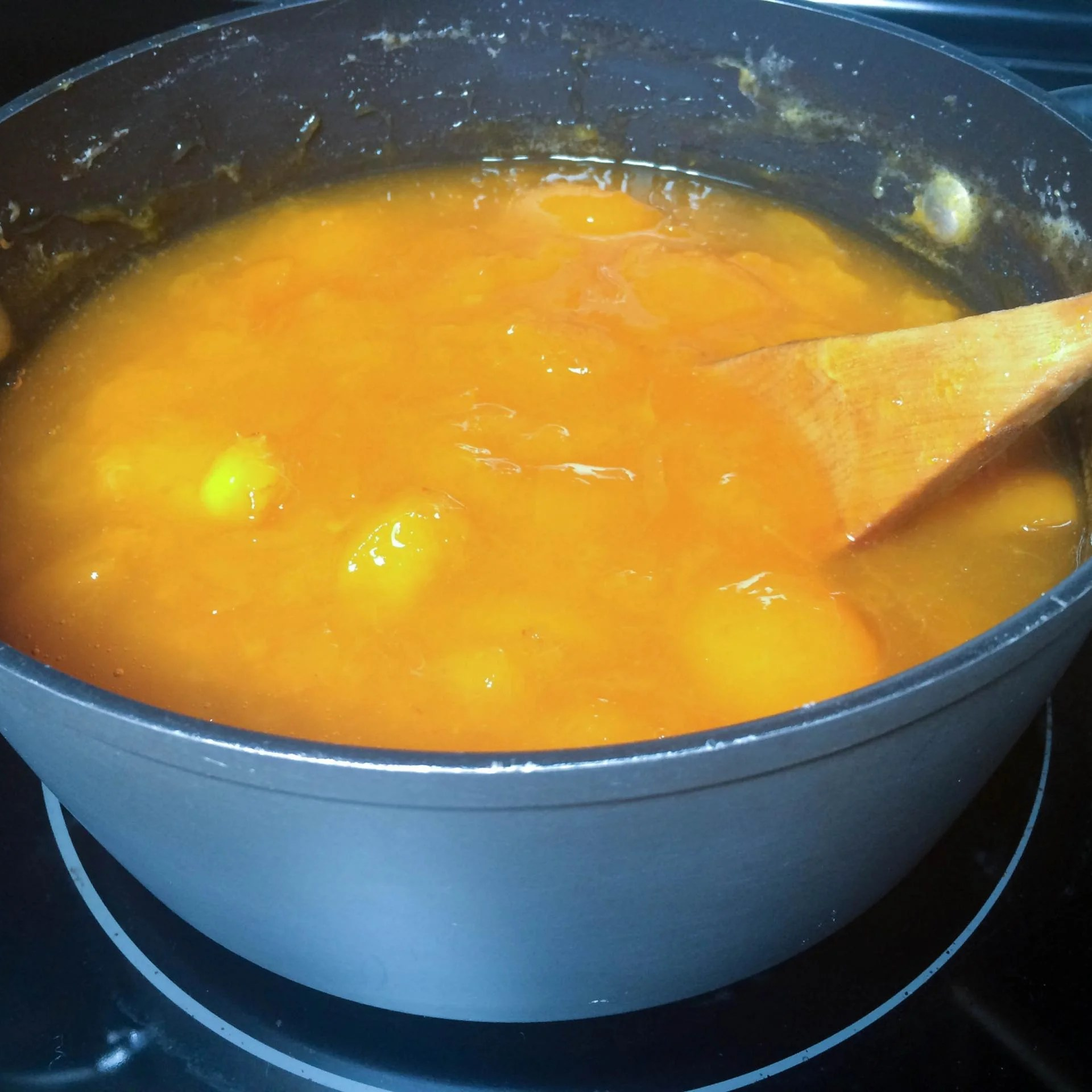 Apricot and sugar being boiled on a stove top