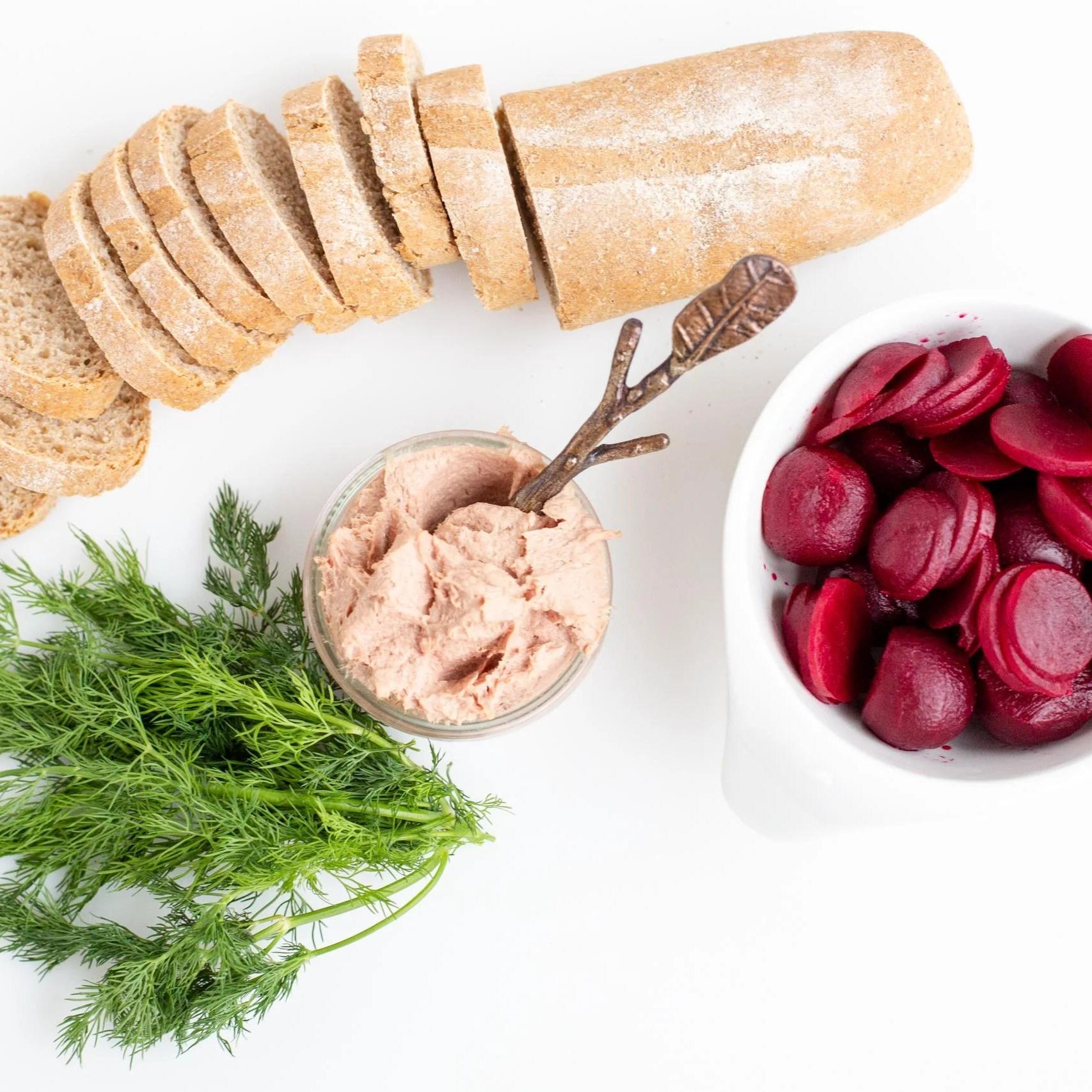 Ingredients for Smørrebrød on a sheet