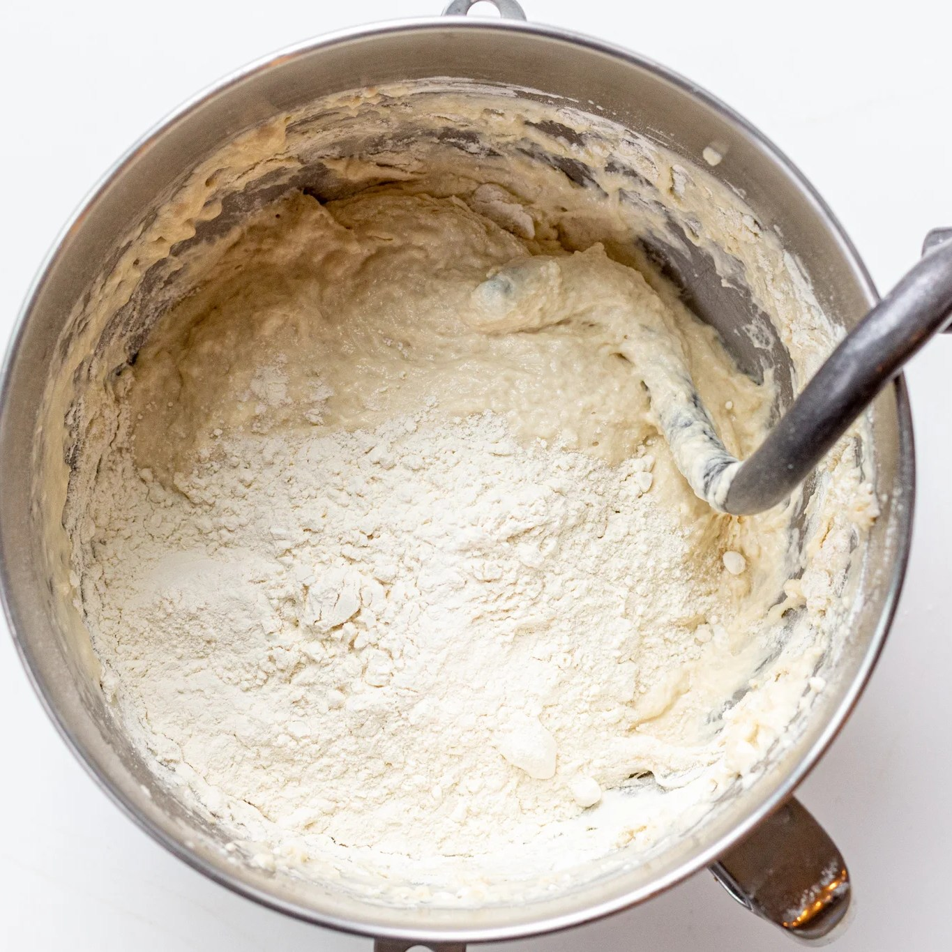 Dough in a mixing bowl