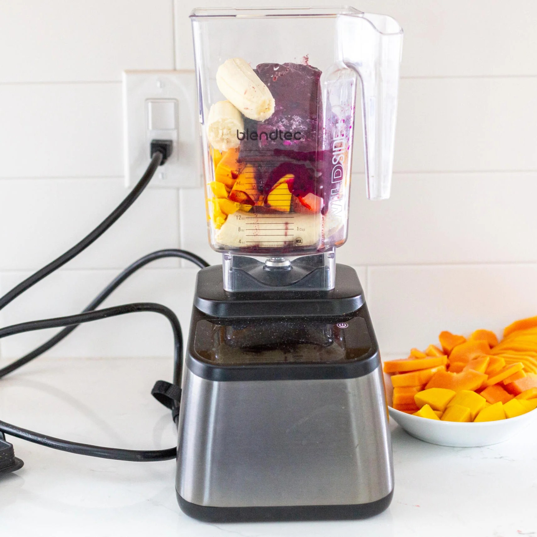 Acai fruits in a blender