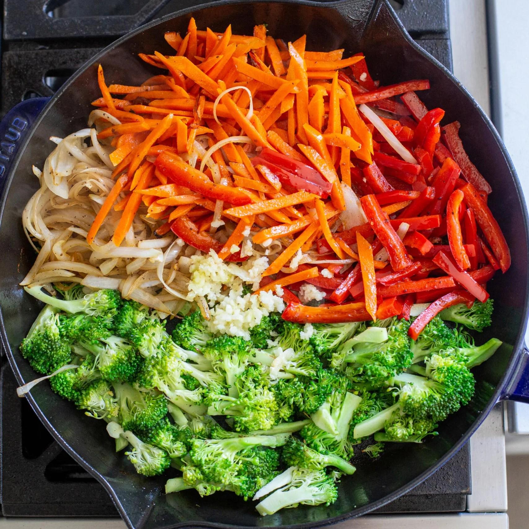 Veggies in a frying pan