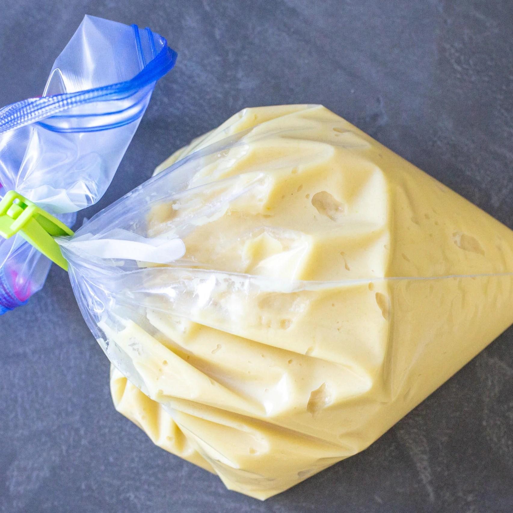 Madeleine Cookies dough in a ziplock bag