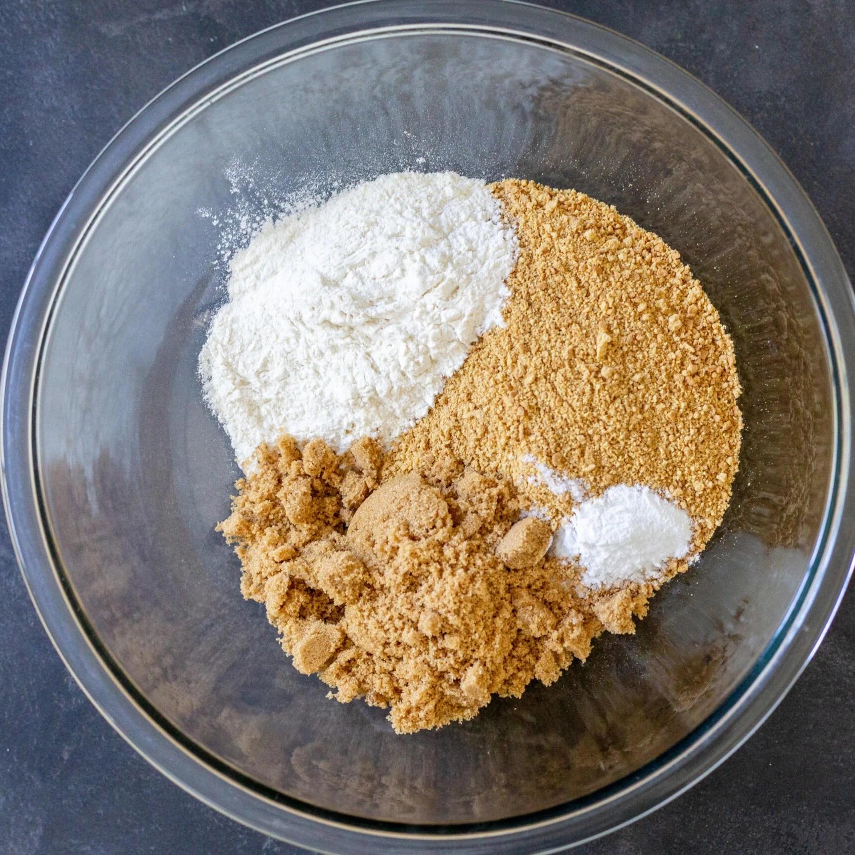 crumbs, flour, sugar in a bowl