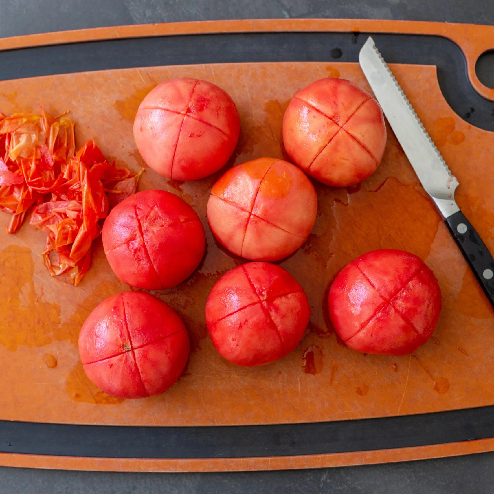 Tomatoes with a skin removed