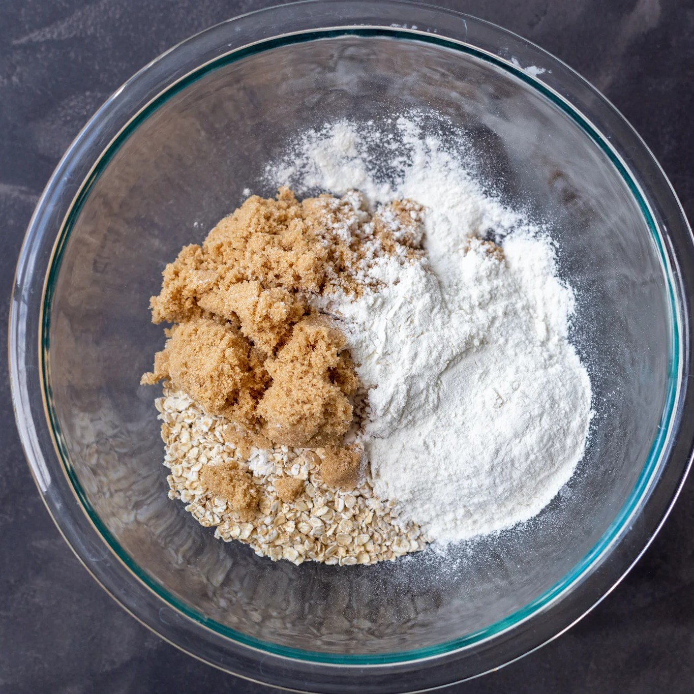 oatmeal, flour, sugar in a bowl