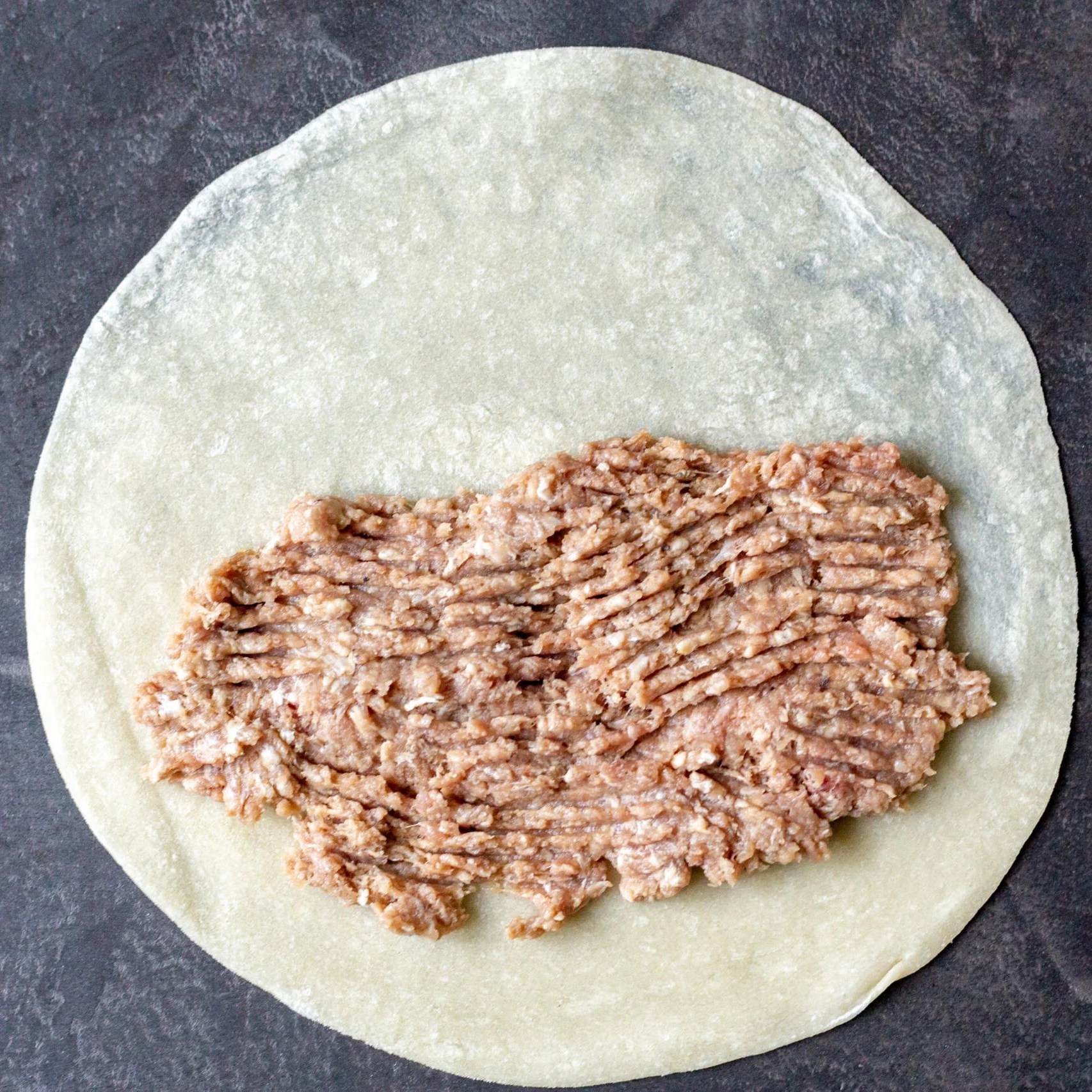 Tortilla filled with meat