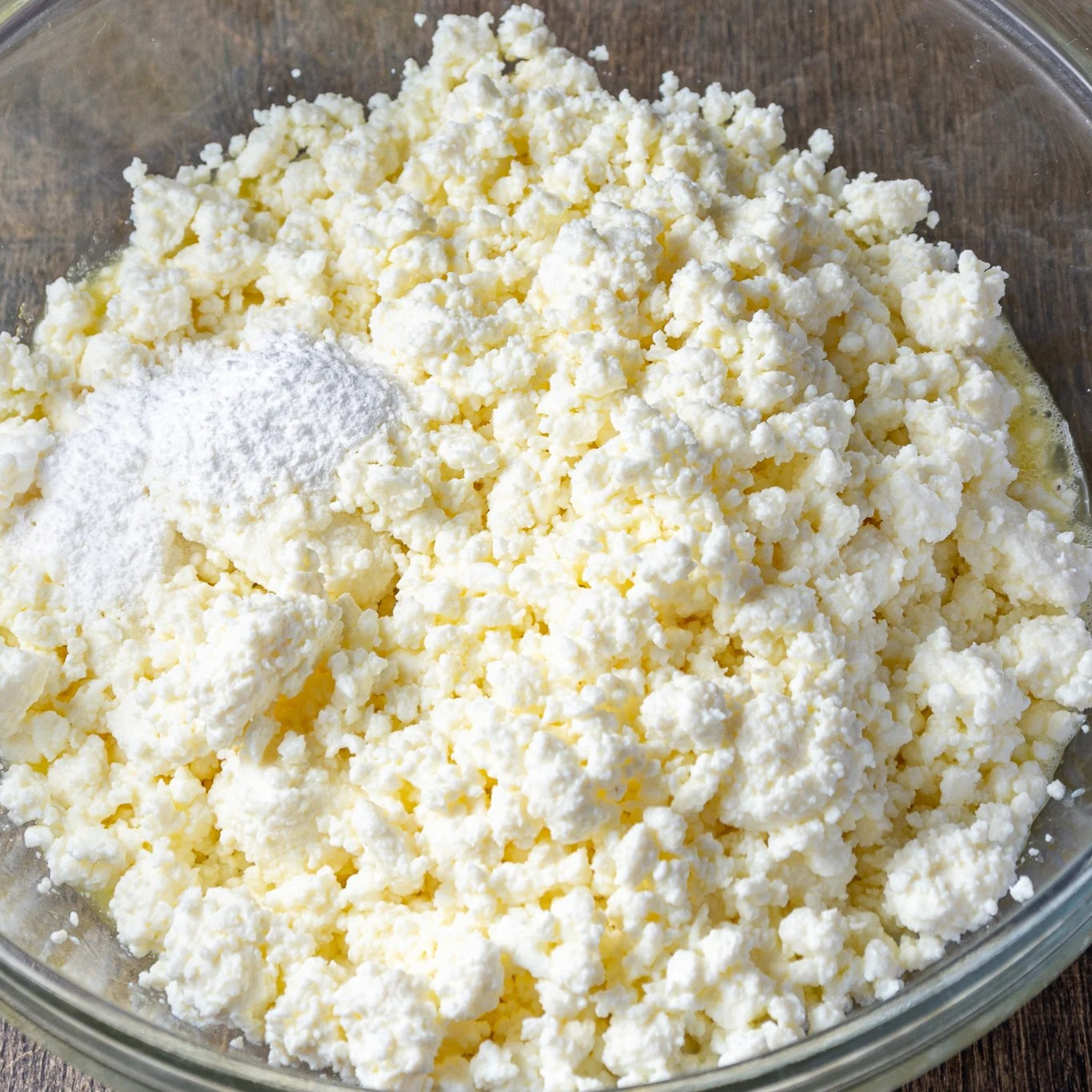 Farmers cheese with baking powder