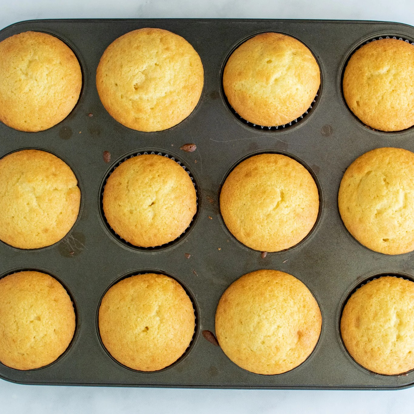 baked cupcakes in a tray