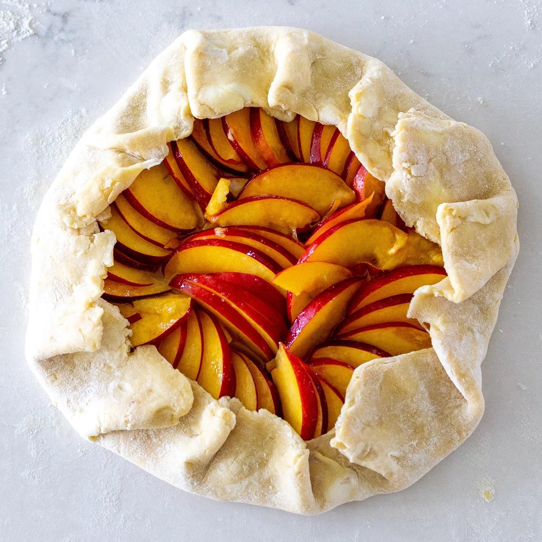 shaped peach galette