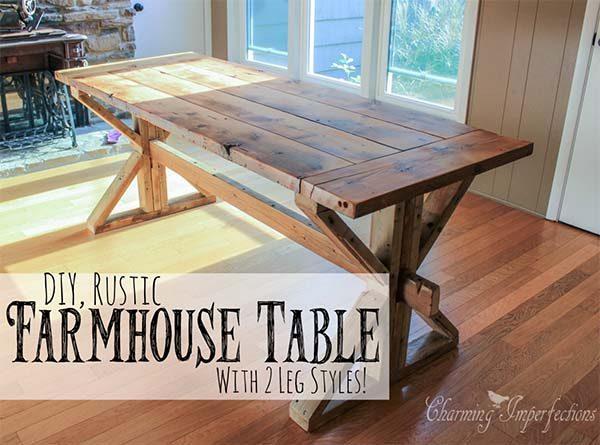40 DIY Farmhouse Table Plans & Ideas For Your Dining Room
