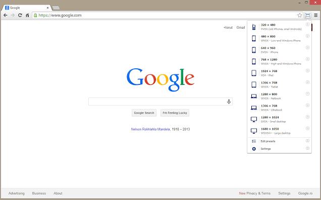 Google Chrome extensions - Windows Resizer