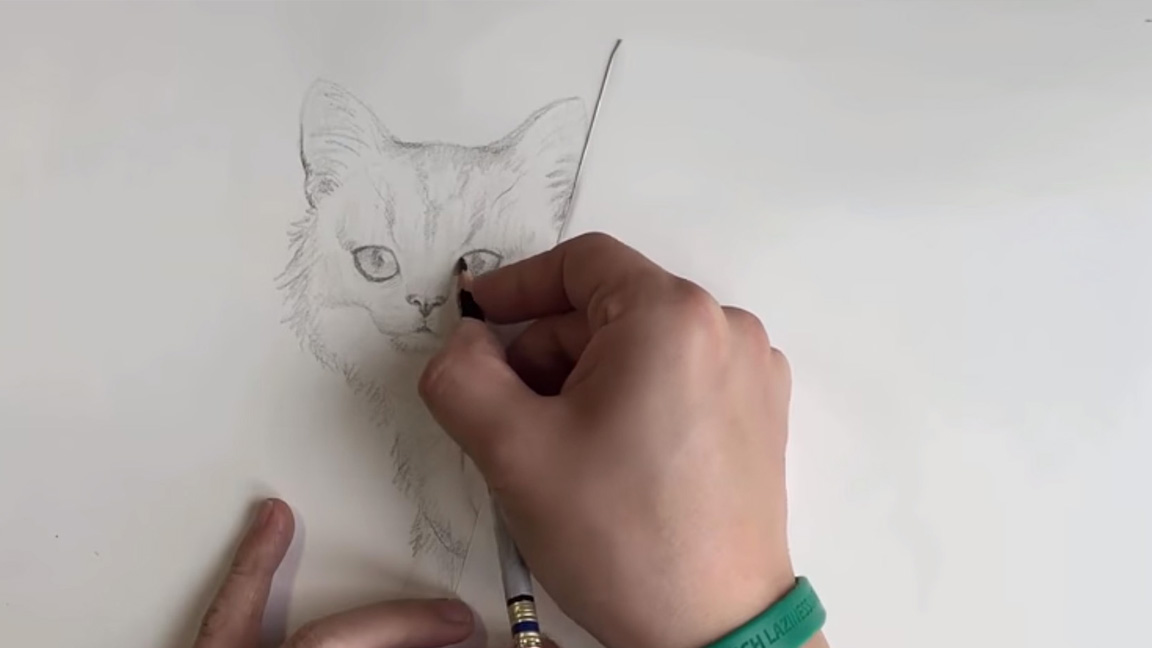 Pencil drawing technique to avoid smudges