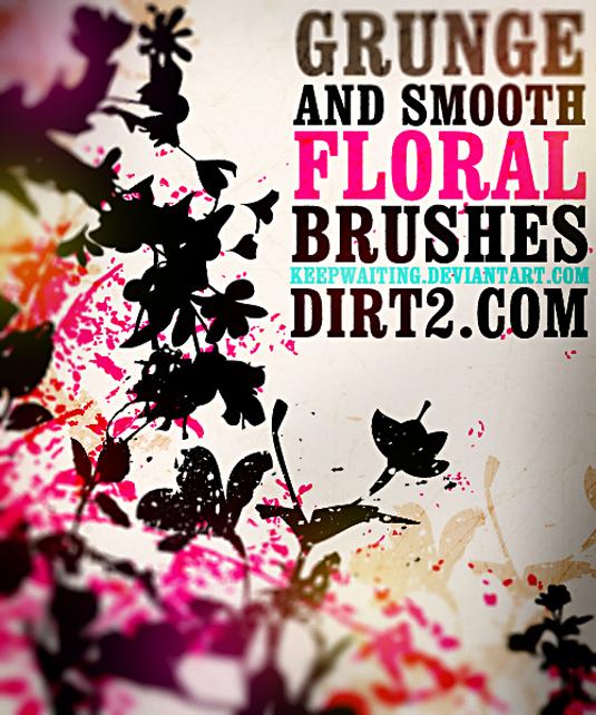 free Photoshop brushes: grunge floral