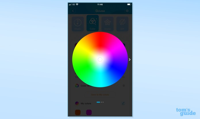 Govee Ambient RGBWW portable table lamp app displaying color wheel