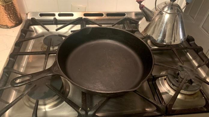 Cast iron pan on hob