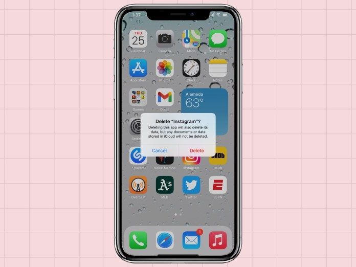 how to delete apps from an iPhone: confirm delete app