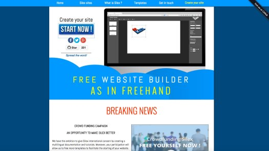 Choose a website builder: Silex
