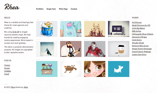 Portfolio WordPress theme - Rhea