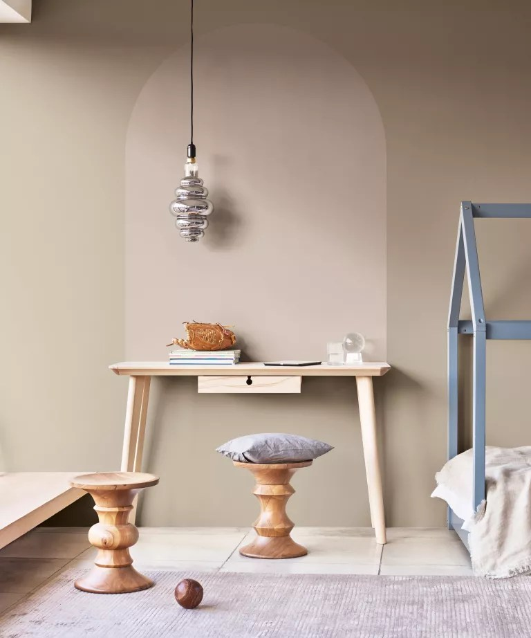 Pressed Putty by Dulux on the walls of a living room