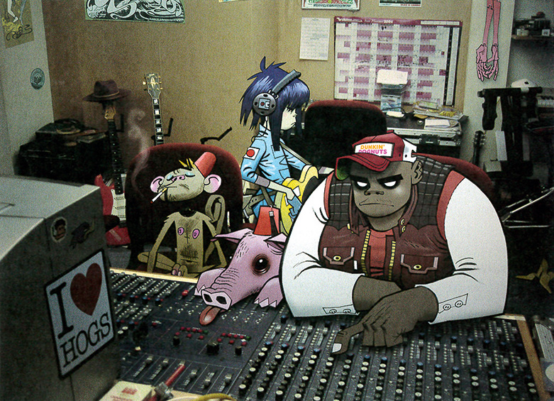 Russel, Noodle, and other characters sitting in a studio's mixing desk