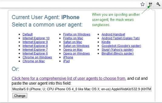 Google Chrome extensions - User Agent Switcher